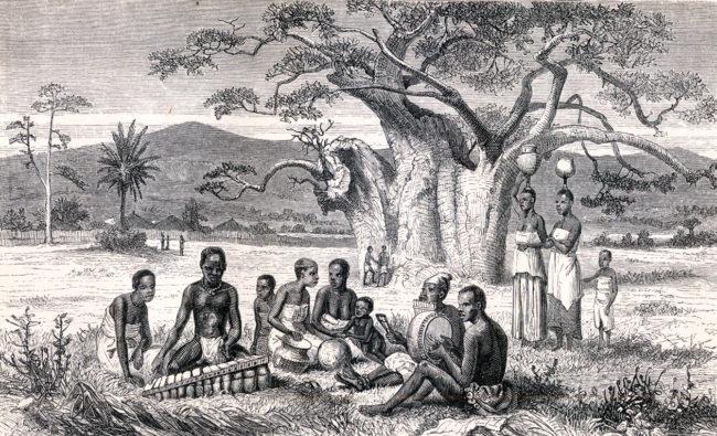 Mbira women watering pots players xylophone instrument