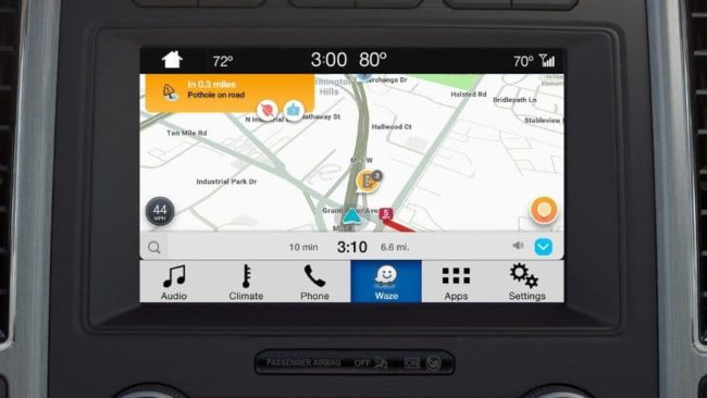 Waze in Ford vehicle