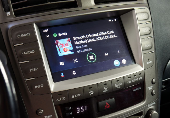 Spotify on Android Auto in Lexus with vLine