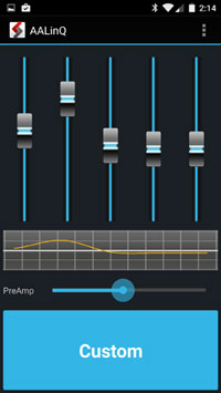 AALinQ player for Google Music - equalizer screen