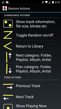 AALinQ player for Google Music - gestures screen
